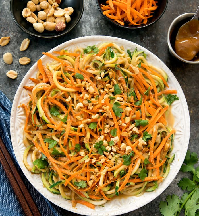 Thai Peanut Zucchini Noodles - Kirbie's Cravings