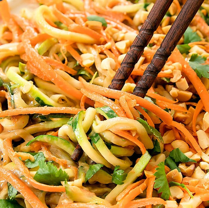 close-up photo of Thai Peanut Zucchini Noodles
