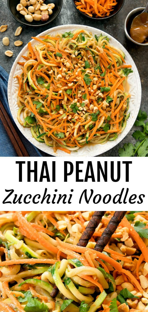 Thai Peanut Zucchini Noodles. Zucchini noodles are tossed in a flavorful creamy Thai peanut sauce. Ready in less than 30 minutes!