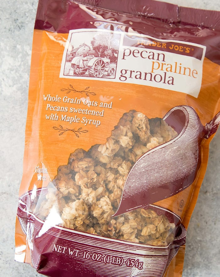 overhead photo of a package of Pecan Praline Granola