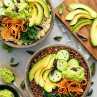 overhead photo of avocado buddha bowls
