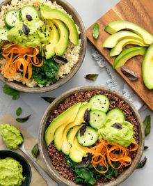overhead photo of avocado buddha bowls