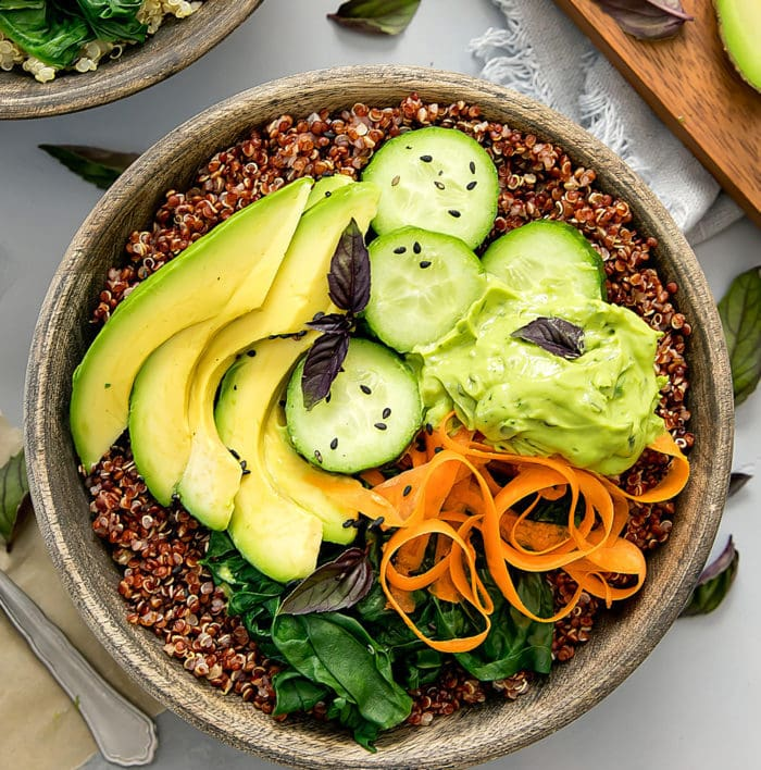 overhead photo of one Avocado Buddha Bowls