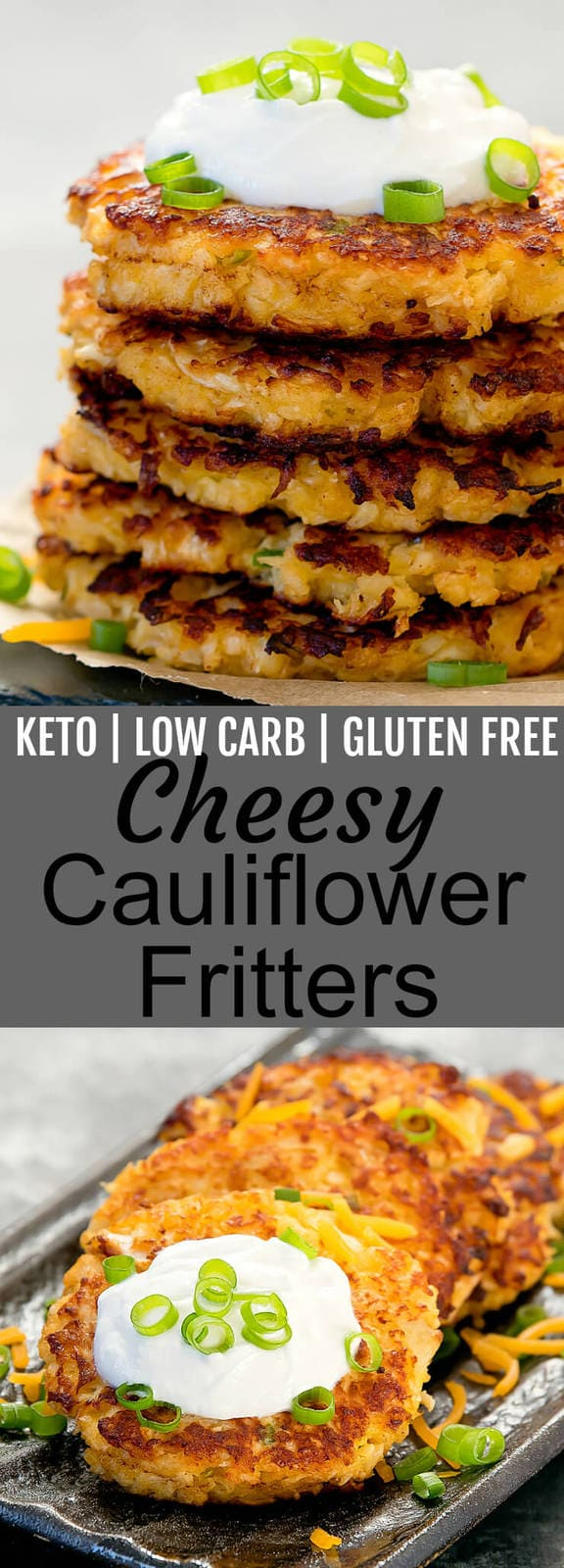 Cheesy Cauliflower Fritters. Crispy fritters that are keto, low carb, wheat flour free and gluten free.