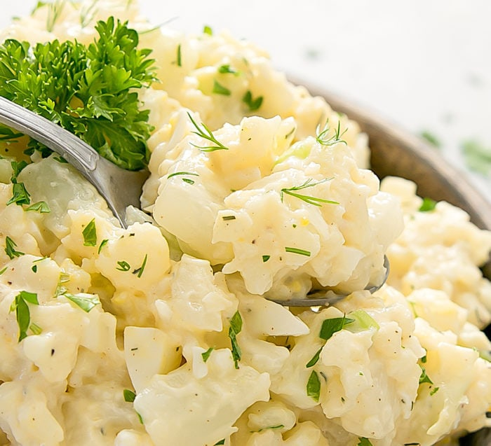 close-up photo of Cauliflower Potato Salad
