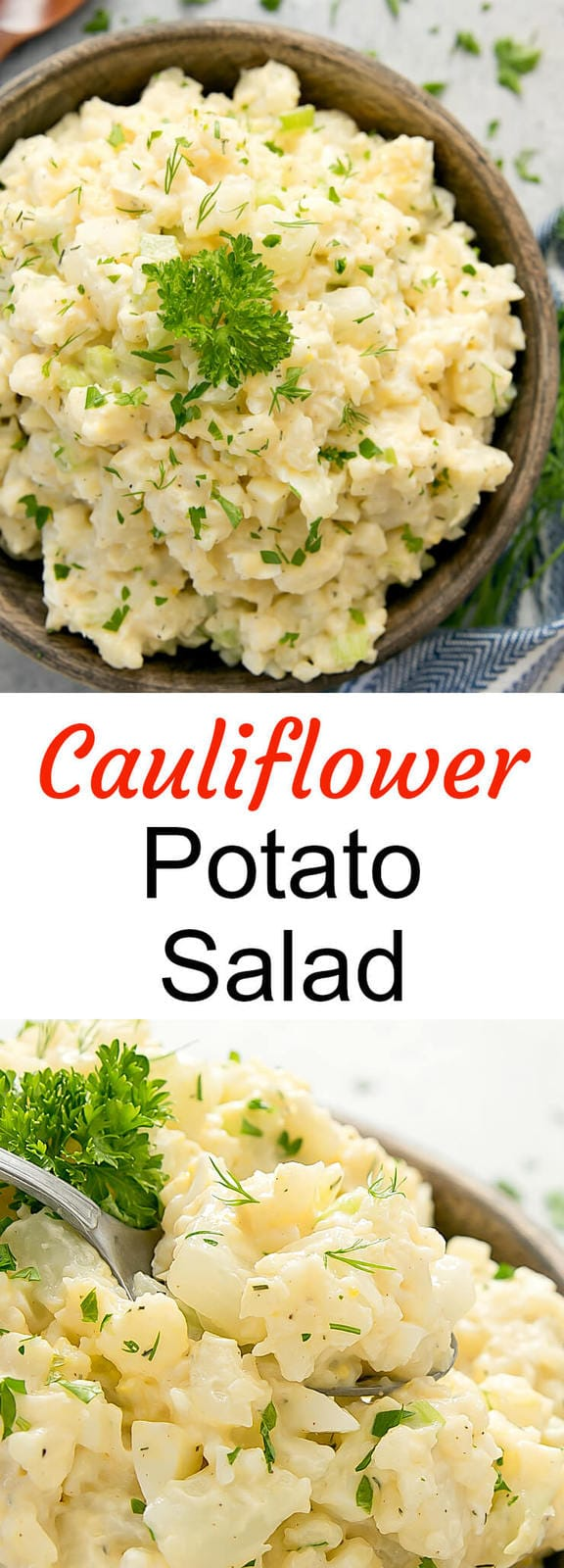 Cauliflower Potato Salad. A low carb version of potato salad using cauliflower instead.