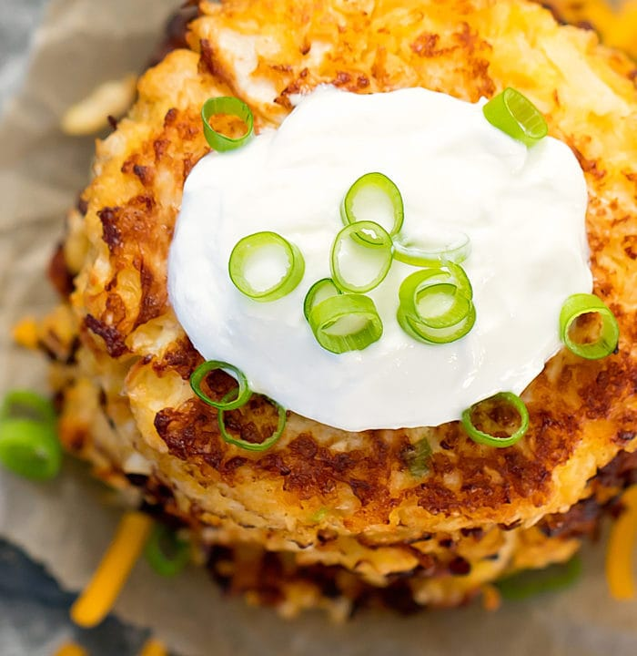 overhead photo of Cauliflower Fritters