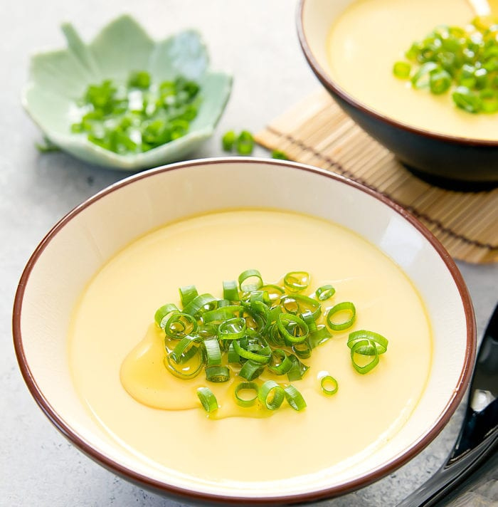 overhead photo of a bowl of steamed eggs