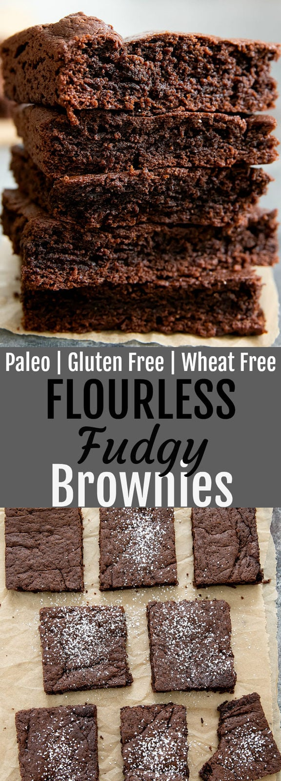 Paleo Fudgy Brownies. These one bowl brownies are flourless, gluten free, wheat free and refined sugar free. Even though they are healthier, they taste just like regular brownies!