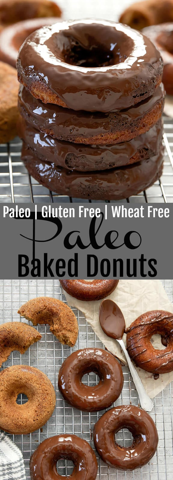 Paleo Baked Donuts. Super easy donuts with the most tender and light crumb. You won't believe they are wheat flour free and gluten free!  #paleo #glutenfree #donuts