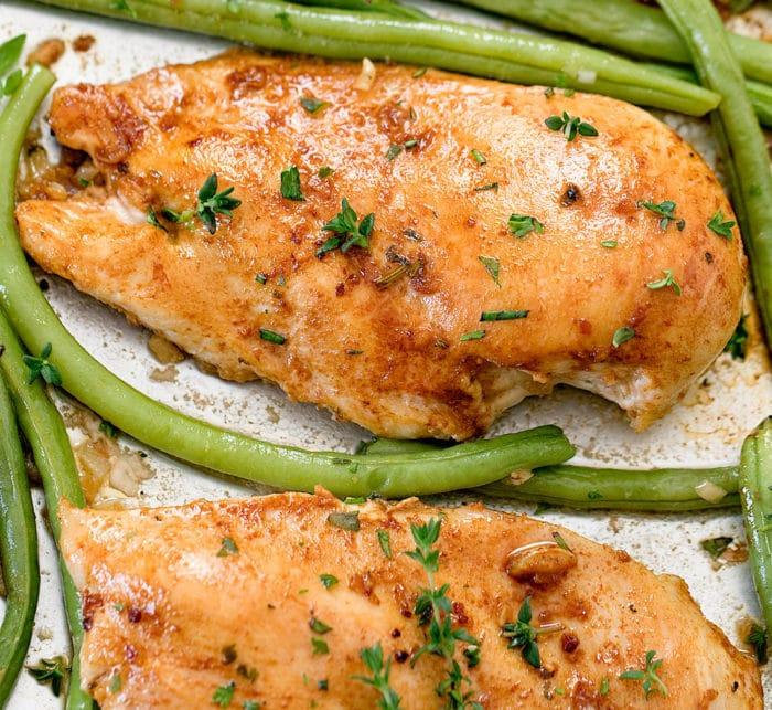 overhead photo of one piece of Garlic Herb Butter Chicken