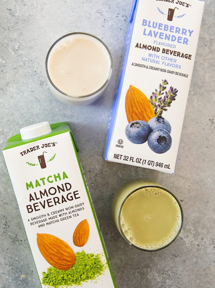 photo of cartons of Trader Joe's Blueberry Lavender Flavored Almond Beverage and Matcha Almond Beverage