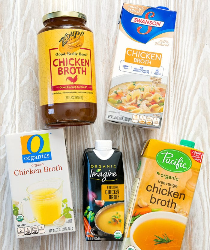 overhead photo of packages of different chicken broths