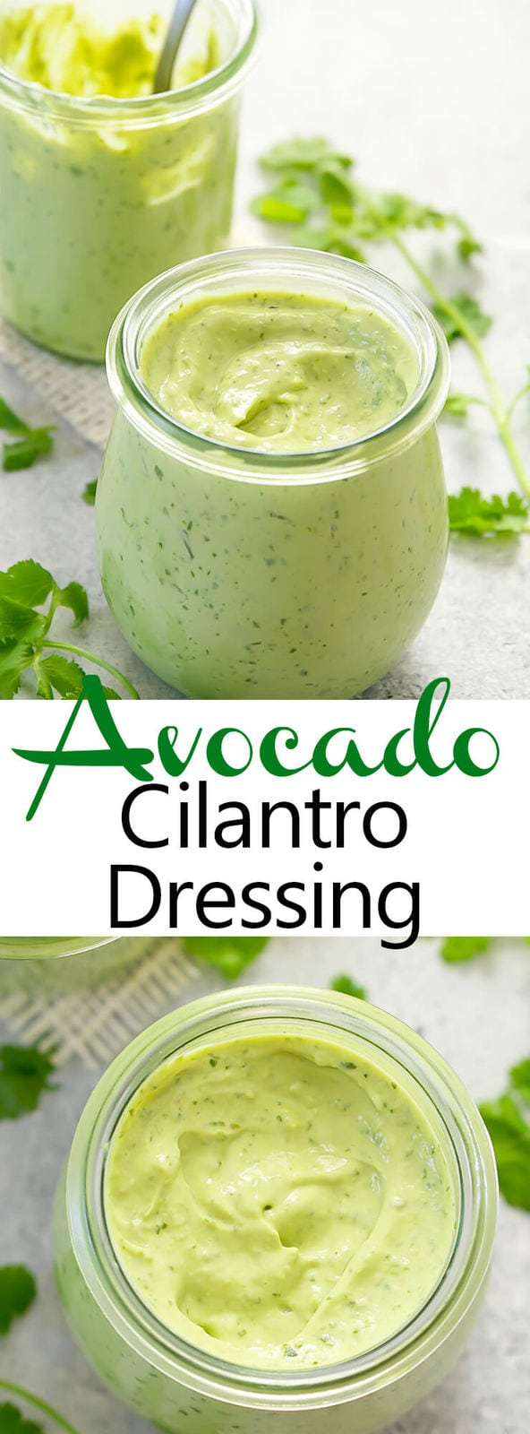 Avocado Cilantro Dressing. An easy, healthy, creamy summer dressing that comes together in about 5 minutes.