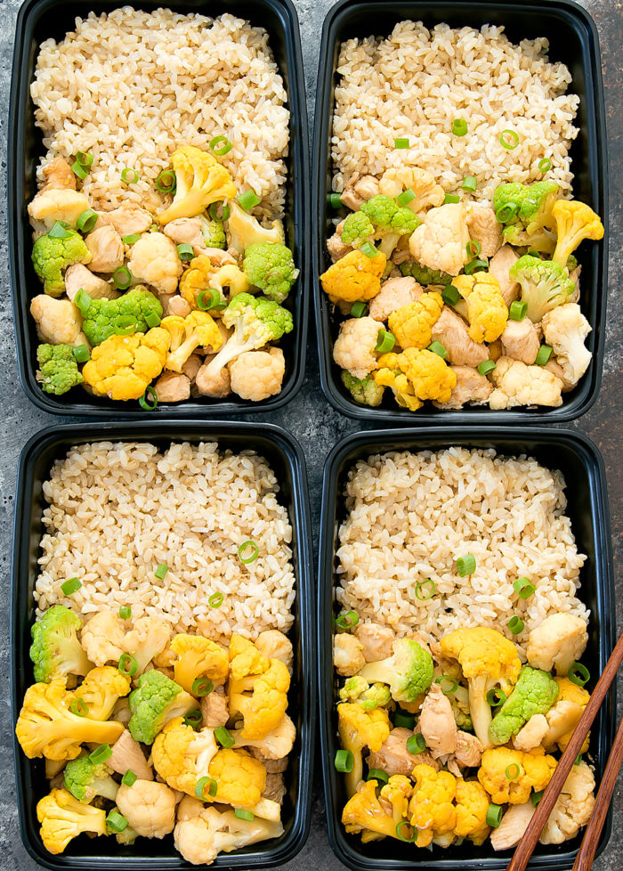 overhead photo of cauliflower stir-fry in four meal prep containers
