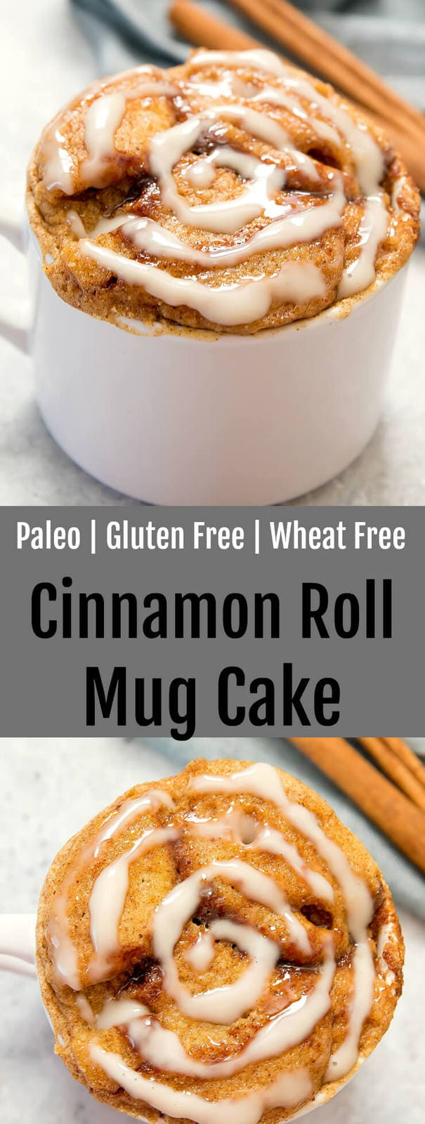 Paleo Cinnamon Roll Mug Cake. Perfect for one! This recipe cooks in the microwave and is gluten free, paleo.