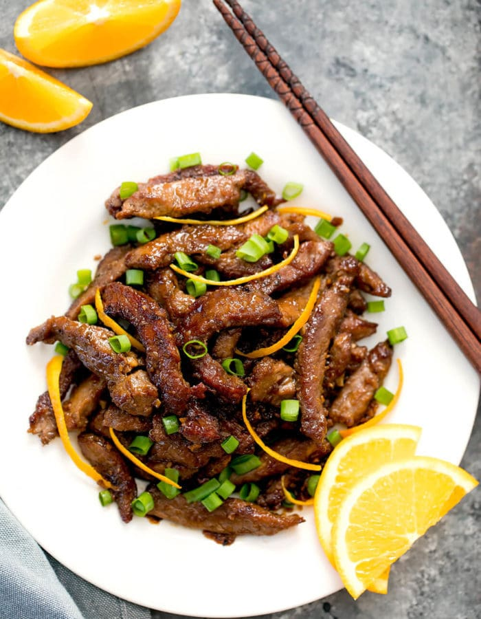 overhead photo of crispy orange beef