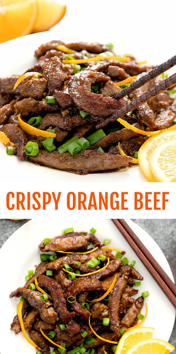 Crispy Orange Beef. A homemade version of the popular Chinese restaurant dish. #orangebeef #chinese