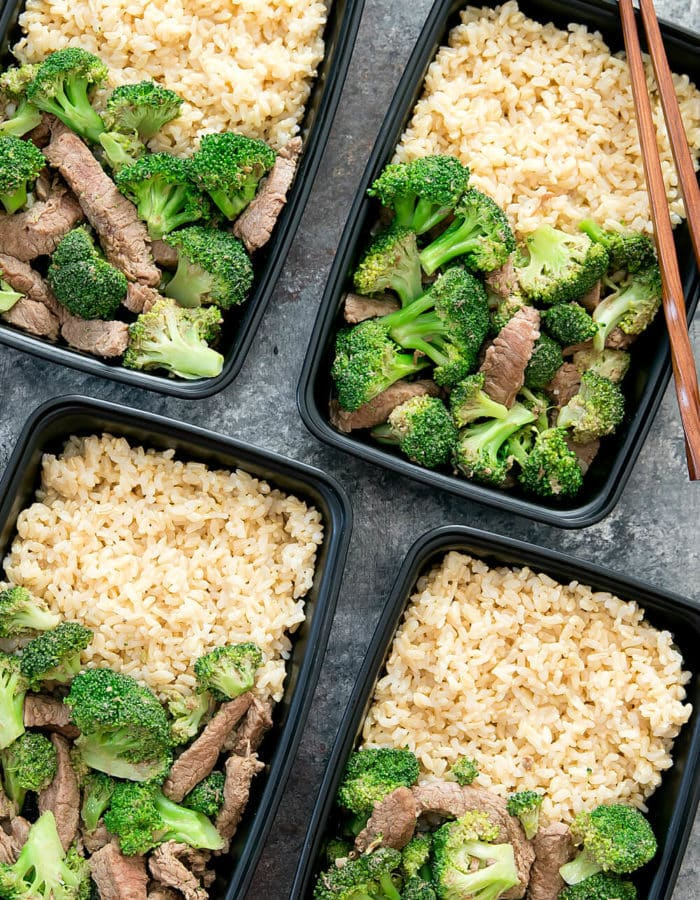top-down photo of garlic beef and broccoli