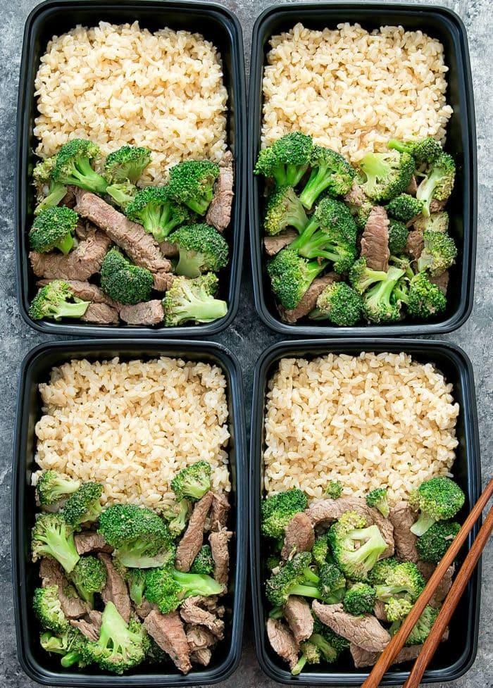 overhead photo of garlic beef and broccoli in meal prep containers