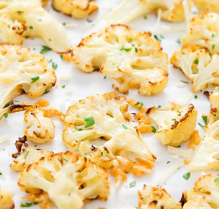 close-up photo of parmesan roasted cauliflower