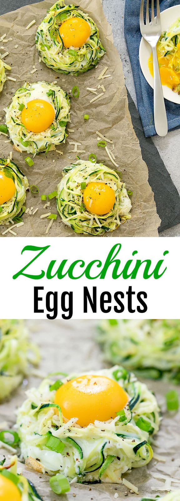 Baked Zucchini Egg Nests. A fun brunch or breakfast and a great low carb alternative to traditional egg nests.