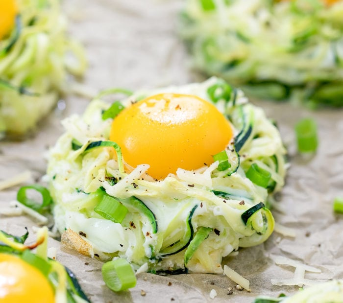 close-up photo of a Zucchini Egg Nests topped with a baked egg