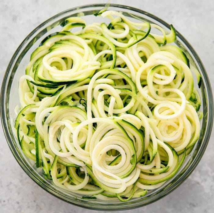 overhead photo of a big bowl of zucchini noodles