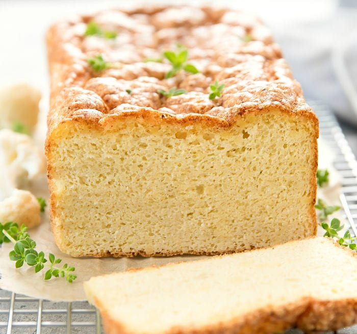 close-up of cauliflower bread loaf