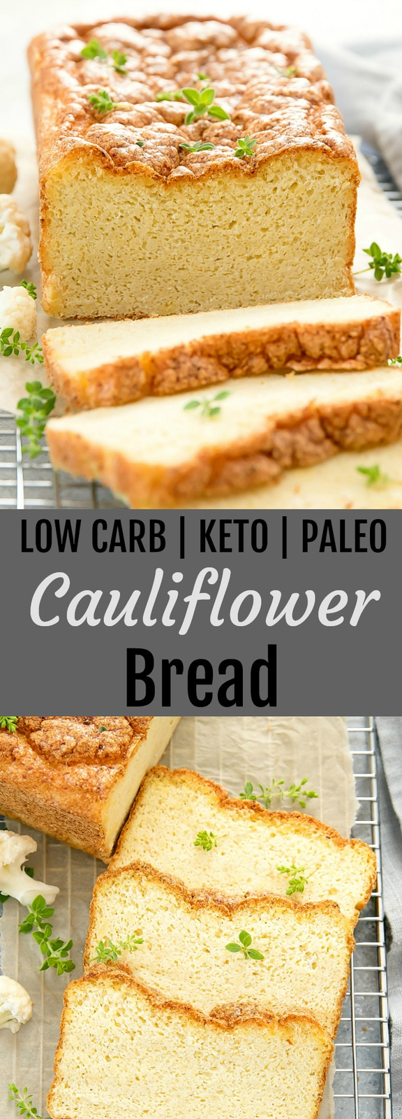 Cauliflower Bread. This is the best cauliflower bread! It's sturdy enough for sandwiches and toast. It is also gluten free, paleo, keto and low carb.