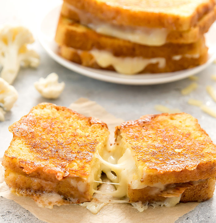 photo of Cauliflower Grilled Cheese sandwich sliced in half