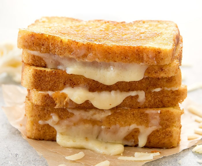 close-up photo of a stack of Cauliflower Grilled Cheese