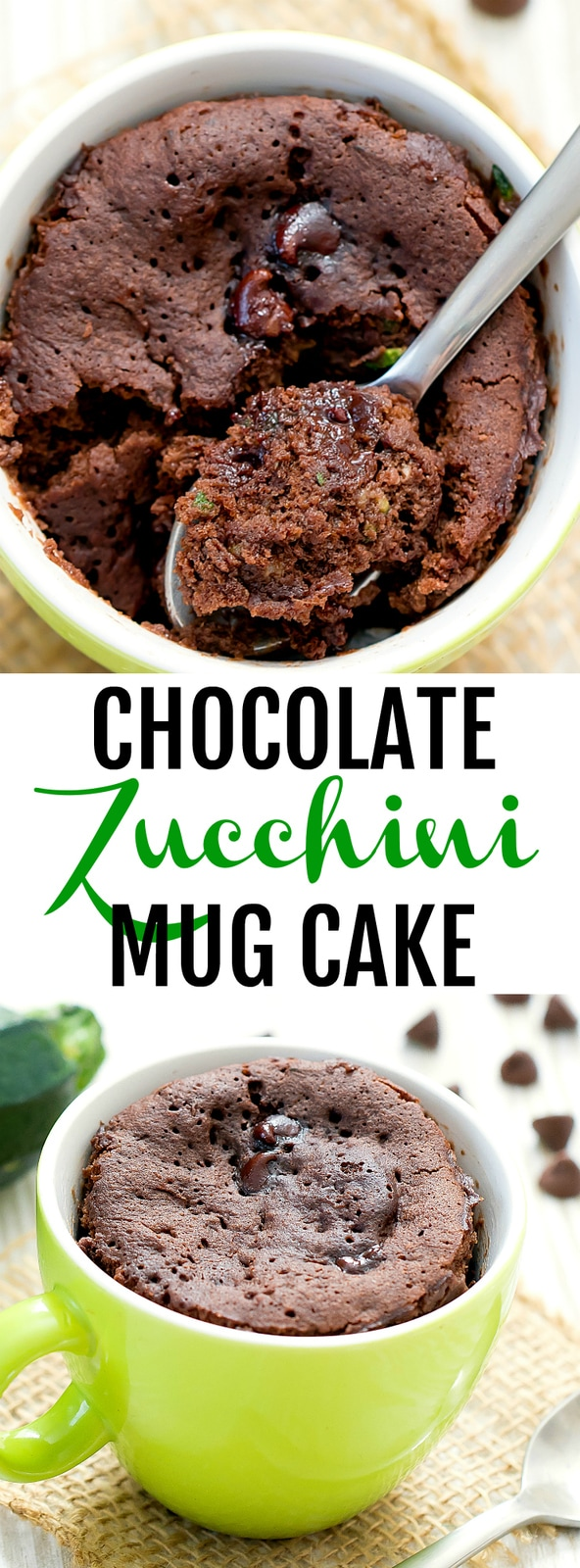 Chocolate Zucchini Mug Cake. A single serving chocolate zucchini cake that cooks in the microwave in less than 2 minutes. The cake is fluffy, moist, chocolatey and will satisfy zucchini bread cravings. #zucchinibread #mugcake #zucchinicake