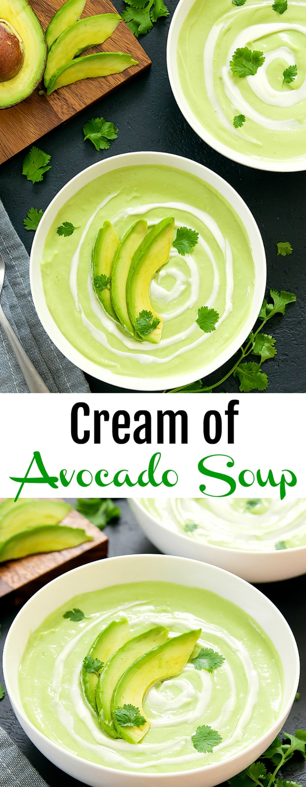 Cream of Avocado Soup. A creamy, savory summer soup that is ready in less than 30 minutes!
