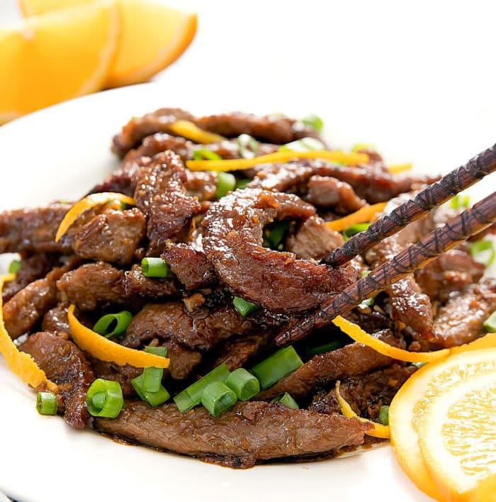 close-up photo of crispy orange beef