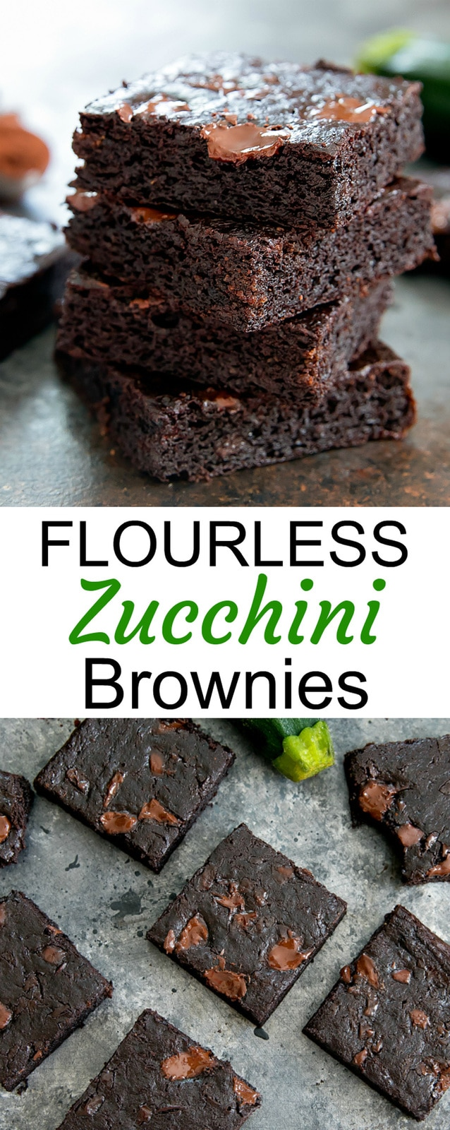 Flourless Zucchini Brownies. Fudgy chocolatey brownies that are also gluten free, grain free and paleo. This is an easy one bowl recipe.