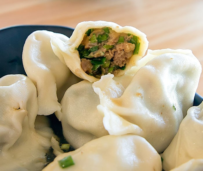 close-up of Pork and Chive Dumplings