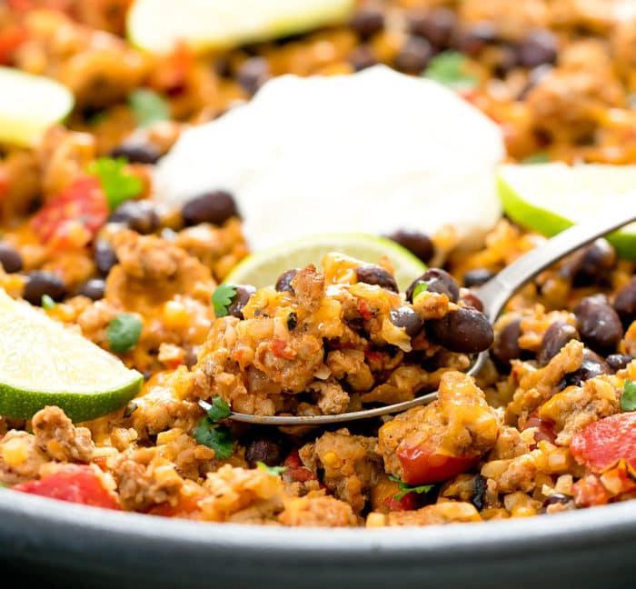 spoonful of taco cauliflower rice