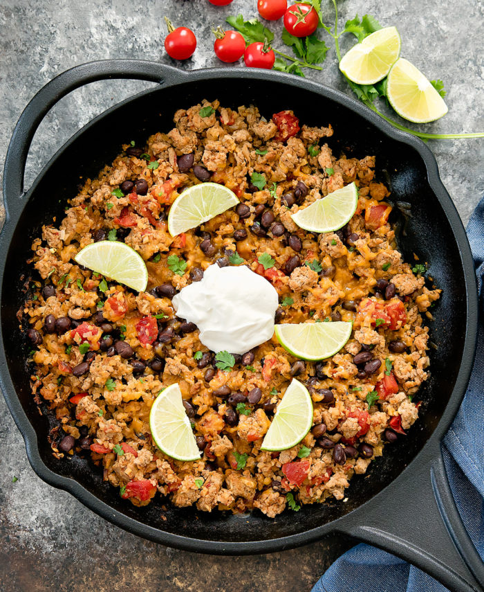 Overhead view of skillet filled with taco cauliflower rice