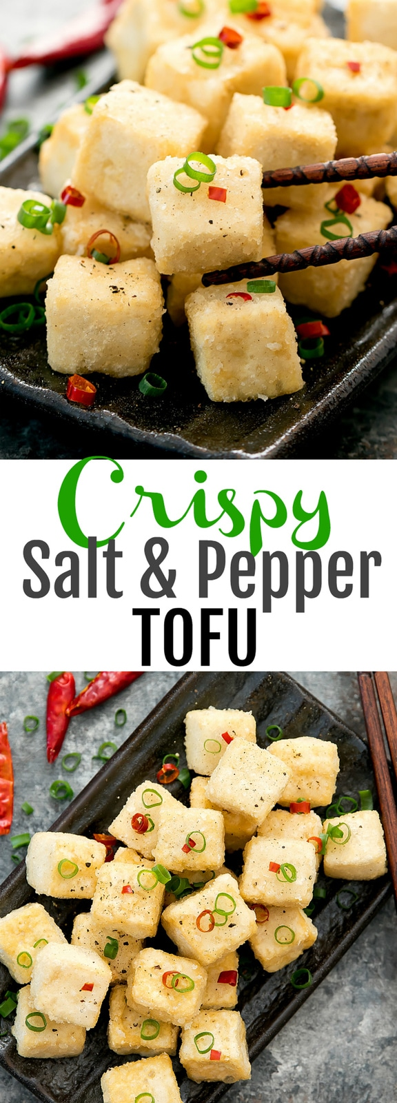 Crispy Salt and Pepper Tofu. A popular Chinese dish that can be easily made at home. The tofu has a super crispy exterior and a soft, silky center.