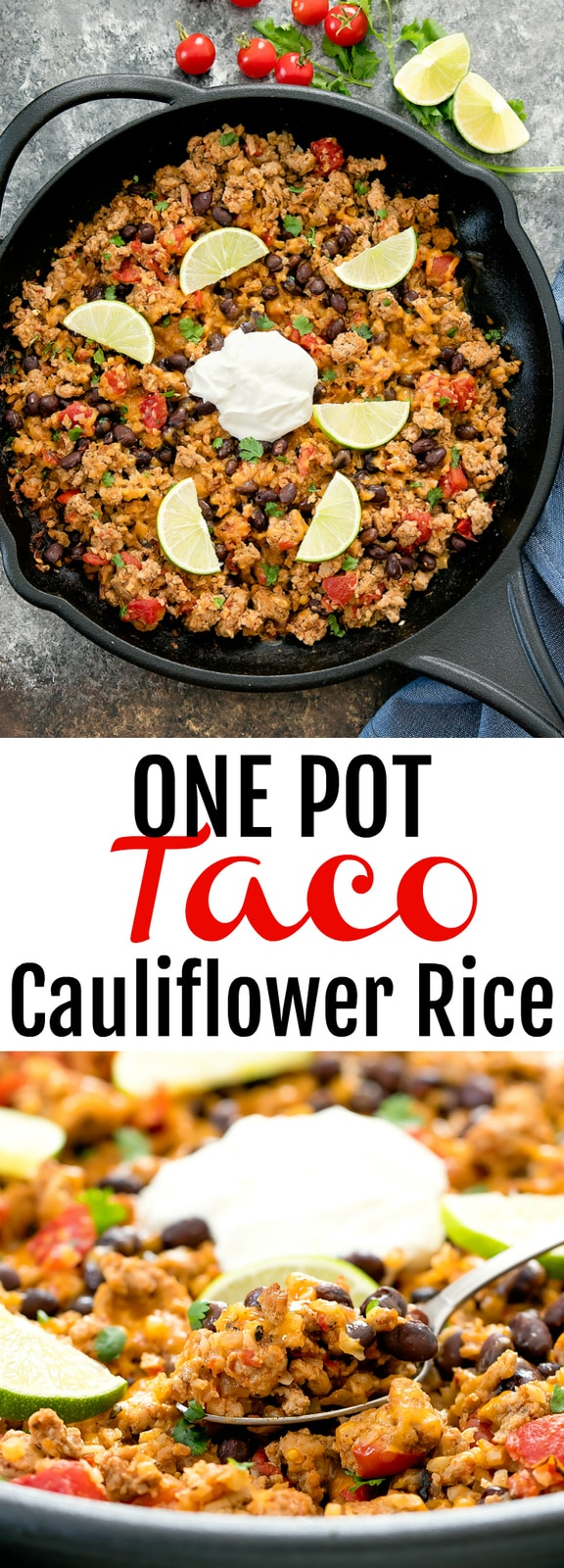 One Pot Taco Cauliflower Rice. An easy and flavorful dish that cooks in one pot and is ready in less than 30 minutes. Homemade turkey taco filling is cooked with cauliflower rice and topped with popular taco toppings.