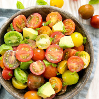 overhead photo of a bowl of tomato avocado salad