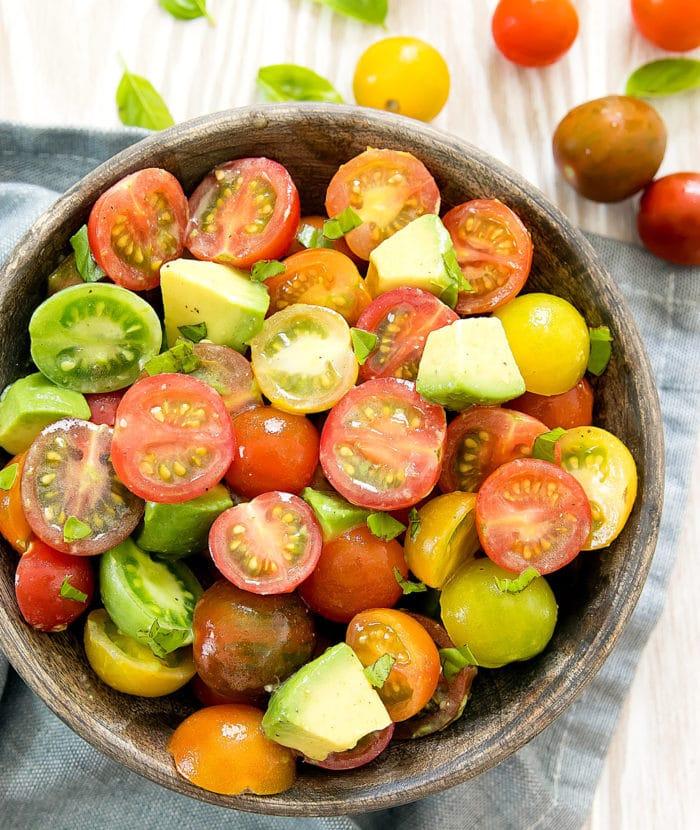 overhead photo of tomato salad
