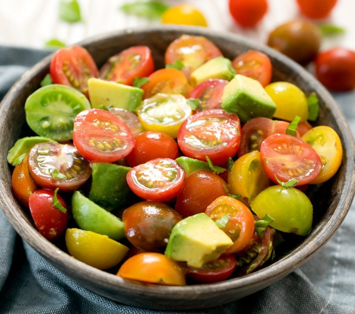 side view of tomato salad