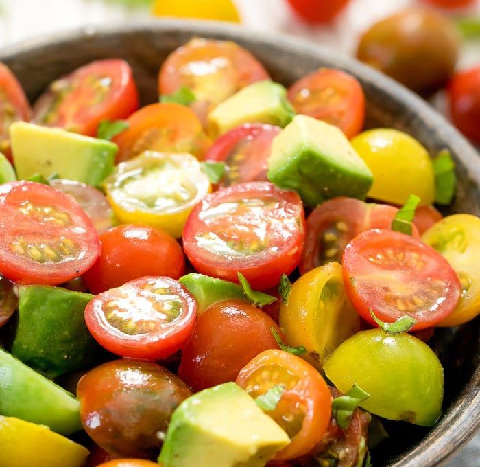 close-up photo of tomato avocado salad