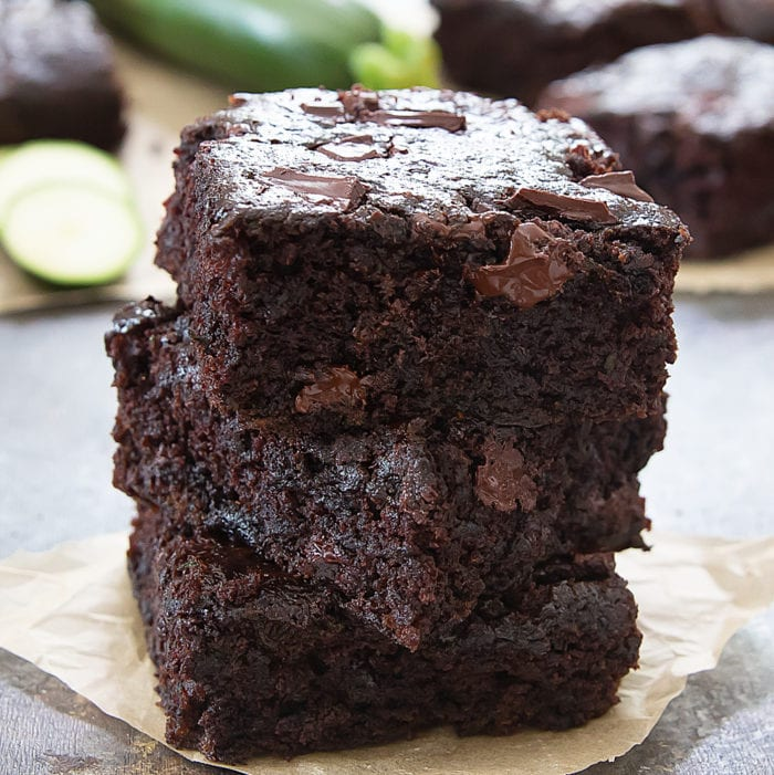 stack of three zucchini brownies