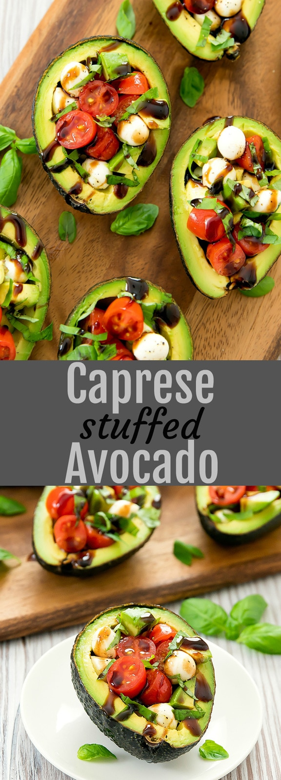 Caprese Stuffed Avocados. A creamy twist on caprese salad, stuffing them inside avocados. An easy light meal or a fun side dish for a party.