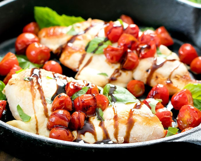 close-up photo of caprese chicken