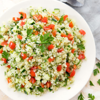 overhead photo of a bowl of cauliflower tabbouleh
