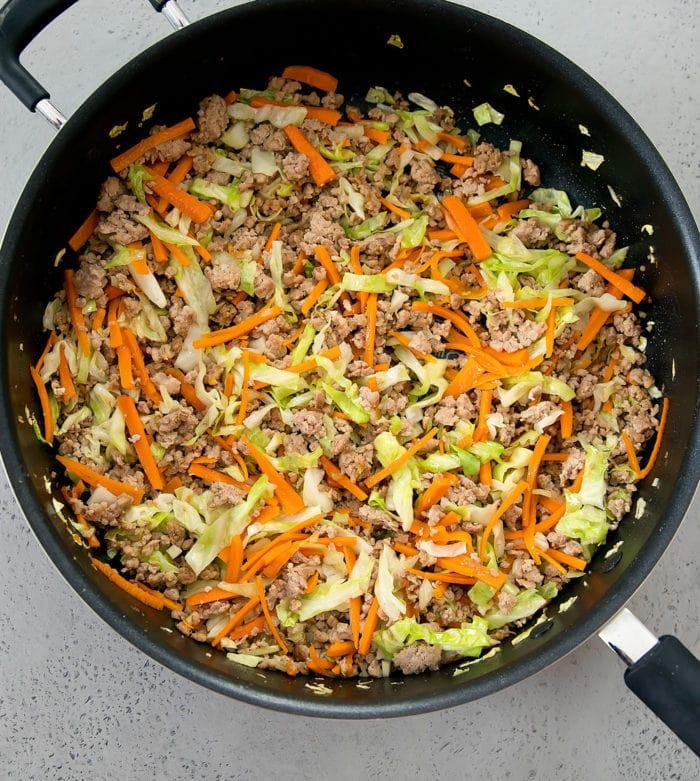 egg roll filling in skillet prep photo